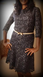 The navy lace dress