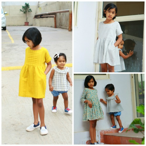 Yellow cotton dress with pleated yoke-baby blouse-bloomers-pinstriped girl's dress with pockets