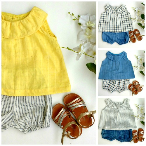 Yellow baby blouse-bloomers-blue blouse-indigo checked dress-bloomers set