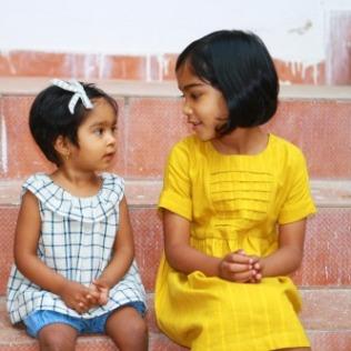 ruffle neck baby blouse - girl's pleated yoke dress in mustard yellow