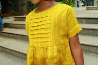 khadi girls dress, khadi kids clothing, mustard yellow dress girls