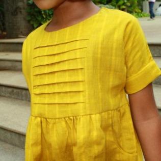 khadi girls dress, khadi kids clothing, mustard yellow dress girls