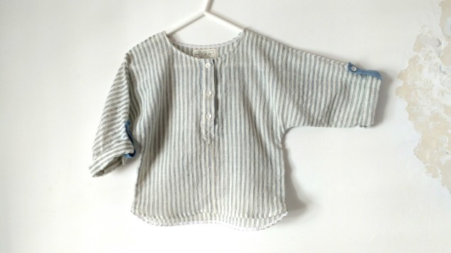 Handloom boys shirt with Indigo stripes
