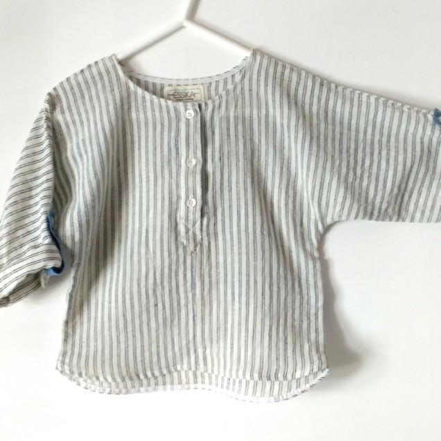 Handloom boys shirt with Indigo stripes